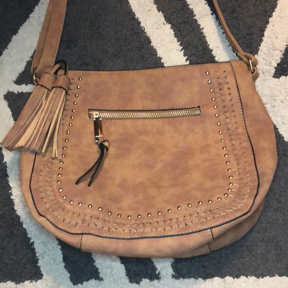 A New Day Chestnut Crossbody with Tassels & Gold